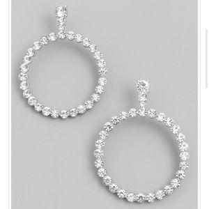 Rhinestone And Silver Earrings